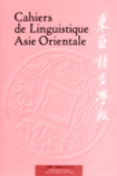Cahiers de Linguistique - Asie Orientale