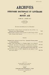 Archives d'histoire doctrinale et littéraire du Moyen Âge