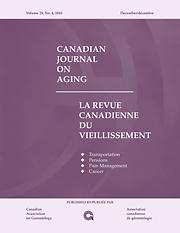Canadian Journal on Aging = Revue canadienne du vieillissement