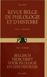 Revue belge de Philologie et d'Histoire