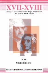 XVII-XVIII. Bulletin de la Société d'études anglo-américaines des XVIIe et XVIIIe siècles