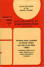 Annales de sociologie et d'anthropologie - Série Chronologies