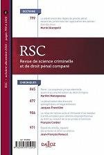 Revue de science criminelle et de droit pénal comparé