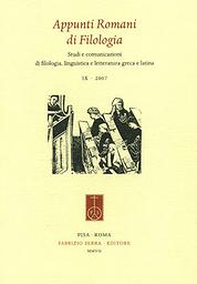Appunti romani di filologia-Studi e comunicazioni di filologia, linguistica e letteratura greca e latina