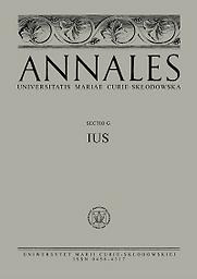 Annales Universitatis Mariae Curie-Skłodowska  Sectio G, Ius