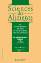 Sciences des aliments  = Food science : an international journal of food science and technology