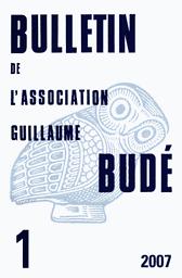Bulletin de l'Association Guillaume Budé. Lettres d'humanité