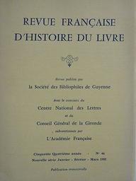 Revue française d'histoire du livre