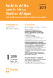 Recht in Afrika - Law in Africa - Droit en Afrique