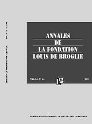 Annales de la fondation Louis de Broglie