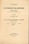Annales de l'Université de Grenoble  nouvelle série, Section des sciences mathématiques et physiques