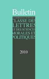 Bulletin de la Classe des lettres et des sciences morales et politiques