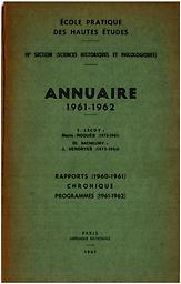 Annuaire - Ecole pratique des hautes études. 4e section, Sciences historiques et philologiques