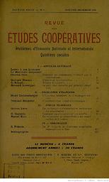 Revue des études coopératives : Problèmes d'économie nationale et internationale. Questions sociales