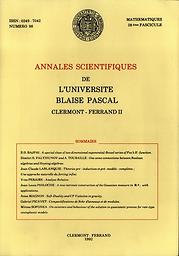 Annales de la Faculté des sciences de l'Université de Clermont. Mathématiques